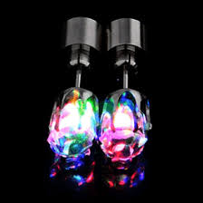 led earrings led faux diamond pierced earrings multicolor rainbow multicolor