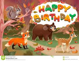 happy birthday card with wood animals stock vector image 64655406