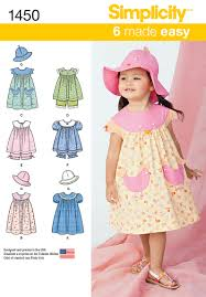 simplicity 1450 toddlers dress top and hat