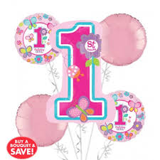 1st birthday balloon delivery 1st birthday balloon bouquet 5pc sweet girl from category