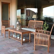 Gp Products Patio Furniture Amazon Com Walker Edison Solid Acacia Wood 4 Piece Patio Chat