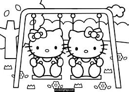 hello kitty twin swing coloring pages for girls printable 525954