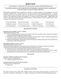 exle resume education cost analyst resume