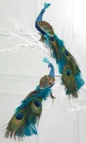 chic 2 green glitter peacock ornament by thefrenchsecret