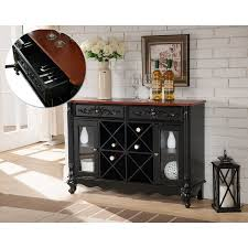 console table with wine storage paul black walnut wood contemporary wine rack sideboard buffet