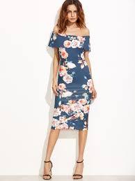 floral dresses blue floral the shoulder scalloped hem sheath dress emmacloth