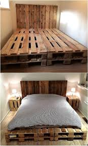 easy to make wood pallet furniture ideas tall headboard pallets