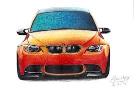 car drawing bmw m3 gts e92 realistic car drawing colour orange by maxbechtold