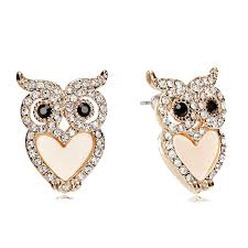 owl earrings gold owl earrings heart belly owl stud earrings rhinestone