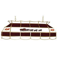 budweiser stained glass pool table light trademark global budweiser clydesdale 3 light stained glass hanging