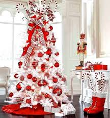 white christmas tree with red decorations home decorations
