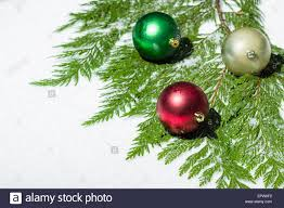 christmas balls on green cedar boughs stock photo royalty free