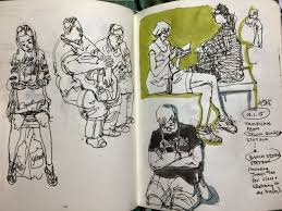 sketching people on the train traffic crossing and coffeeshop