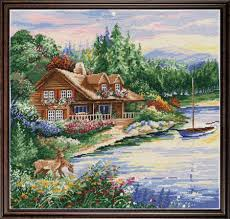 design works lakeside cabin counted cross stitch kit 2767