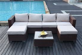 Outdoor Rattan Corner Sofa Yakoe Papaver 6 Seater Brown Rattan Corner Sofa Set Furniture Maxi