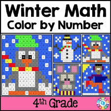 4th grade winter activities 4th grade winter math color by number