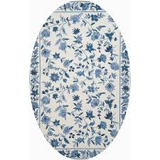 Floral Round Rugs Blue Floral Area Rug Roselawnlutheran