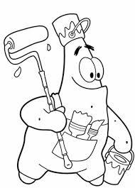 free patrick spongebob painting coloring pages printable