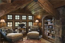 rustic library with built in bookshelf hardwood floors zillow