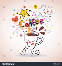 cartoon coffee cup cute character stock vector 154794614