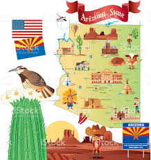 Grand Canyon On A Map Cartoon Map Of Arizona Stock Vector Art 483559425 Istock
