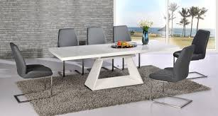 modern white dining room table white high gloss extending dining table and 8 grey chairs set with