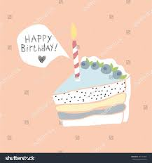 cute happy birthday card cake candles stock vector 461794846