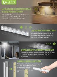 led light bar under cabinet wardrobe light oxyled motion sensor closet lights 20 led under