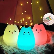 usb cat night light rechargeable silicone 7 colorful cute cat animal usb led night light