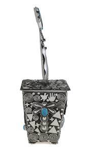 mn1042 navajo zuni sterling silver jewelry box by alex sanchez