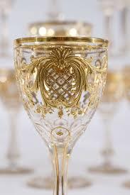 Hand Blown Wine Glasses by Exquisite Moser Handblown Crystal Raised Paste Gold Stemware