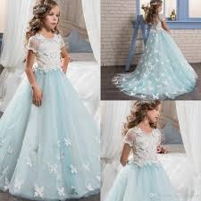 pretty lace little bride flower dresses short sleeves with