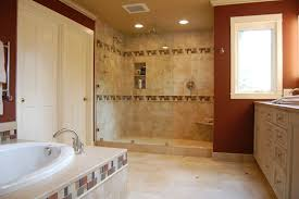 cheap bathroom tile brown ceramic tile floor walk in shower room cheap bathroom tile brown ceramic tile floor walk in shower room grey granite countertops white rectangular bathtub near white sink cream shower curtains