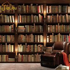 Bookshelf Background Image 3d Stereo Custom Bookcase Bookshelf Wallpaper Mural Leisure Coffee