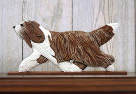 bearded collie mini bearded collie figurine plaque display wall decoration brown