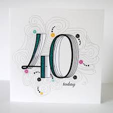 40th birthday card folksy