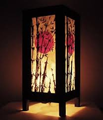 Lights Home Decor Thai Vintage Handmade Asian Oriental Japanese Bamboo Trees Bedside