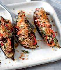 cuisine aubergines sausage and herb stuffed aubergines delicious magazine