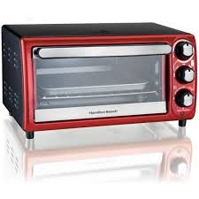 Hamilton Beach 4 Slice Toaster Oven Red on the image for
