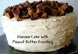 reeses cake with peanut butter frosting somewhere in the middle