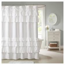 Feminine Shower Curtains Solid Ruffle Shower Curtain Solid White Ruffle Shower Curtains