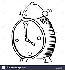 simple black and white alarm clock cartoon stock vector art