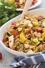 bbq chicken pasta salad with tomatoes zucchini u0026 corn