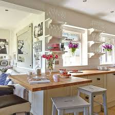 breakfast bar ideas small kitchen neutral country kitchen with bright decor painted stools