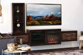 floating fireplace tv console eco geo espresso woodwaves