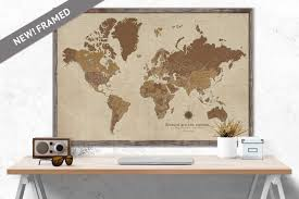 custom world map large map sepia framed push pin map