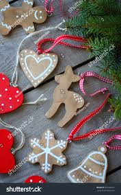 wooden handmade ornaments gingerbread cookies fir stock photo