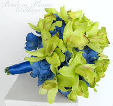wedding flowers royal blue orchid lime green royal blue wedding bouquet in bloom