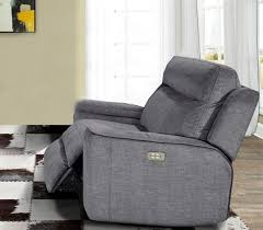 power recliner with power headrest and usb port in titanium fabric