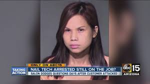 nail tech arrested still on the job youtube